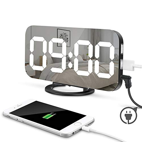MOONORN LED Digital Alarm Clock, 6.5 Large Digit Mirror Clock Bedroom Nightstand Clock with Dual USB Charger Ports, Adjustable Brightness, Big Snooze Button - for Travel Home Bedside Decor (Black)