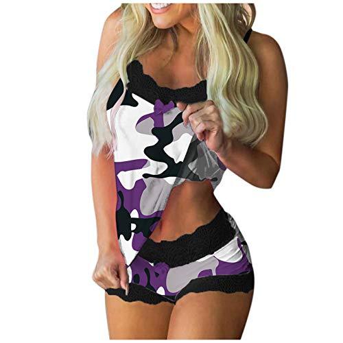 Julhold Pyjamas Negligee Mode Sexy Nachtwäsche Blumendruck Versuchung Tops Anzug Nachthemd Cool Push-up BH Und Slip Lingerie Nachtwäsche Unterwäsche Größe S-XXL (Lila,L)