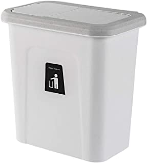 Push-top Trash Can Kitchen Cabinet Door Hanging Trash Can w/ Automatic Return Lid Push Cover Trash Can Fruit Vegetable Skin Garbage Bin Can Rubbish Container Kitchen Garbage Storage Bucket Box (4#)