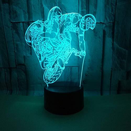 LIkaxyd LED 3D-nachtlampje, optische illusielamp 7 kleuren veranderen, Touch USB & batterij-aangedreven speelgoed decoratieve lamp, beste cadeau voor kinderen-Coole motorfiets