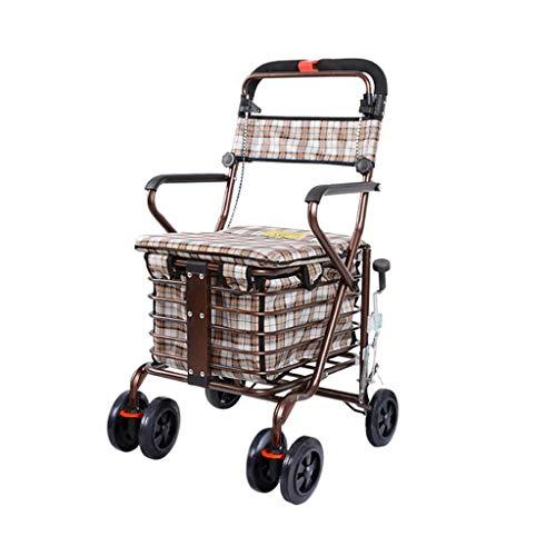 Einkaufswagen Old Scooter Folding Shopping Cart Seat kann Vier Runden dauern, um Lebensmittel zu kaufen und dabei zu helfen, Wiederverwendbare Einkaufstaschen mit kleinem