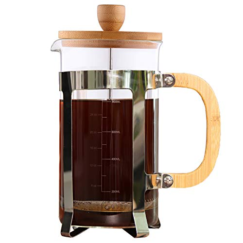 Sivaphe Cafetiere 1000ml, French Press Coffee Maker, Coffee Plunger 34oz 4 Cups, Large Tea Press Borosilicate Glass with Bamboo Handle Gift Father's Day