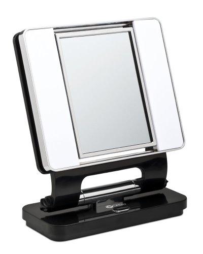 Ott-lite Natural Daylight Makeup Mirror, Black/chrome (26 Watt)