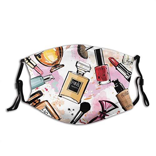 Mundschutz Kosmetik- und Make-up-Themenmuster mit Parfüm-Lippenstift-Nagellackpinsel Moderne waschbare und Wiederverwendbare Gesichtsbedeckung mit Filter