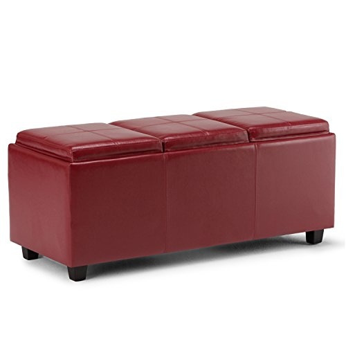 Simpli Home Avalon 42 inch Wide Rectangle Storage Ottoman in Upholstered Red Faux Leather, Coffee Table for the Living Room, Bedroom, Contemporary