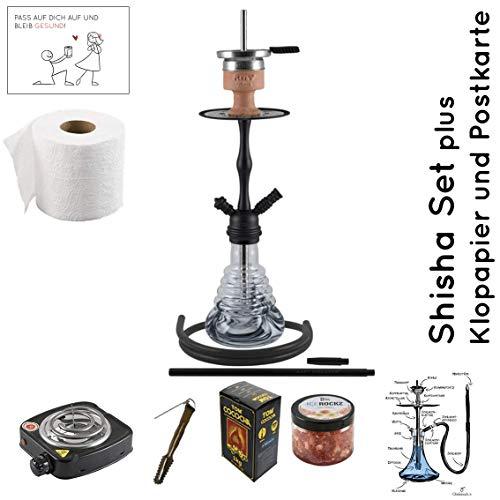 Amy Deluxe Shisha Set mit Shisha Stillness klick II, Kohleanzünder, Naturkohle, Kaminkopf, Dampfsteine, Reinigungstabs, Aufbauanleitung(Schwarz/Dunkel-Chrome)