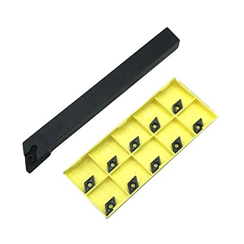 KANGF-TOOL, 10 stks DCMT070204 Carbide Inserts+ 1 stks SDJCR1212 SDJCL1212H07 SDJCR1010 draaigereedschap bit Metalen draaibank Snijgereedschap Set