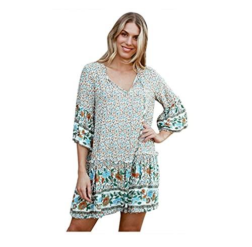 Mini vestido de mujer bohemio con estampado floral, talla grande, cuello en V, manga larga, largo hasta la rodilla, elegante vestido de verano, vestido de playa, 06-blanco, M