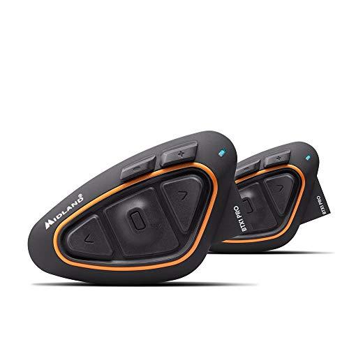 Midland BTX1 PRO Doppio Interfono Moto Bluetooth Coppia, Auricolari Casco con Cancellazione del Rumore, Comunicazione Pilota Passeggero - 2 Auricolari