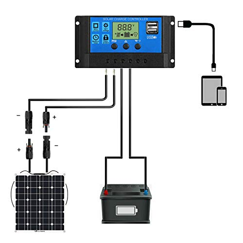 Phoenician Energy 10A Solar Charge Controller 12V/24V Auto, Solar Panel Charge Controller 10Amp Solar Regulator with Dual USB LCD, Backlight LCD Display and Timer Setting ON/Off (10A)