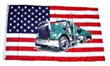 Fahne / Flagge USA - Truck LKW NEU 90 x 150 cm