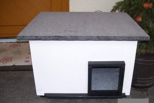 Lösche Holzbau Katzenhaus mit Heizung weiß Katzenhütte Wurfkiste wetterfest isoliert beheizt
