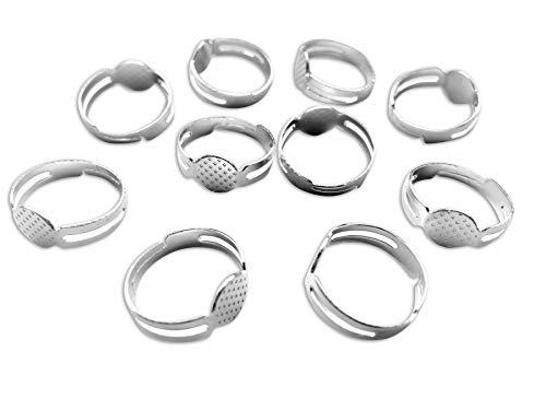Einstellbar Ringrohlinge(80er Pack)- 20mm x 8mm, Silberfarbe, Metall, Ringe Rohlinge Set für Basteln, Ringrohlinge mit Kleber auf Pad für Edelsteine und Perlenlstei