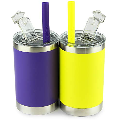 Housavvy Kids Tumbler Vacuum Insulated Stainless Steel Cup with Lid and Straw, Purple/Yellow, 2 Pack / 11 oz