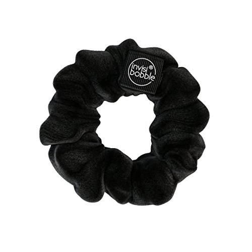 invisibobble SPRUNCHIE, True Black - Spiral Hair Ring meets Scrunchie, No Kink, Strong Hold, Stylish Bracelet, 90s Trend - Suitable for All Hair Types