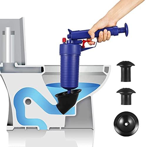 Ducomi Pistola de Limpieza de Drenaje – Herramienta de Desbloqueo de Inodoro para Tuberías Obstruidas - Blaster de Drenaje de Alta Presión de Aire -Bomba de Apertura para Baño, Cocina, Bañera (Azul)