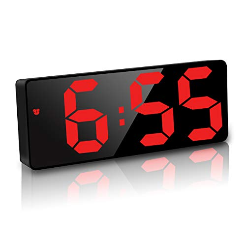 JQGo Wecker Digital, LED Digitaler Wecker Spiegel Tischuhr USB Wiederaufladbar Schlanker Wecker, 12/24 Stunden, Snooze, Sprachsteuerung, Temperatur Anzeige, Helligkeit Regelbar, Schlafzimmer, Rot