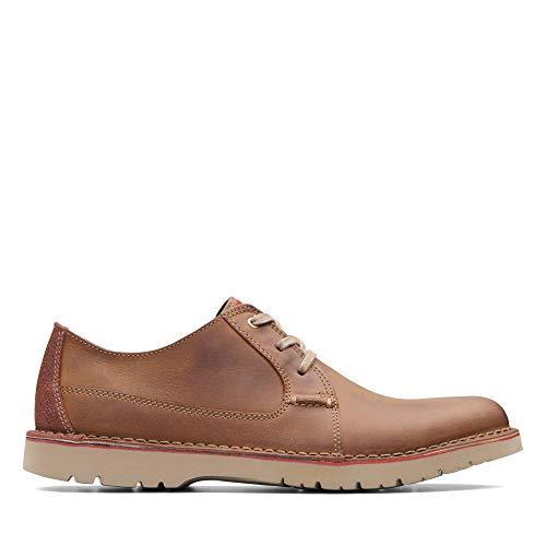 Clarks Vargo Plain, Zapatos de Cordones Derby, Marrón (Dark Tan Leather-), 48 EU