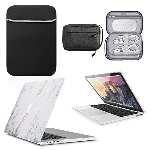 GUPi - Marbel White Hard Shell Case, Cover with matching Neoprene Sleeve & Resistant Accessory Bag for Apple MacBook [11-inch Air - A1370 / A1465-2010-2015]