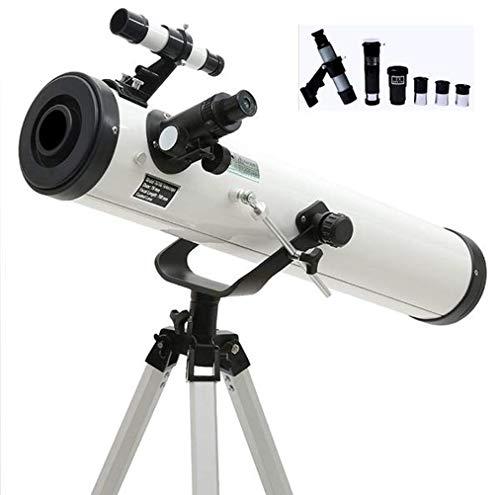 XBSLJ 76/700 Telescopio, Telescopio Reflector, Telescopios de Astronomía para Niños, Telescopio Portátil de Viaje, Finder Alcance Barlow Lente & 3 Ojos & Trípode de Aluminio Ajustable