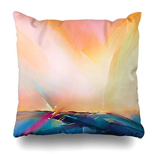 N\A Tarde Azul Artístico Abstracto Naturaleza Naranja Pincel de Dibujo Fundas de Almohada Blanda Fundas de cojín simulado para sofá Sofá Cama Pulgada