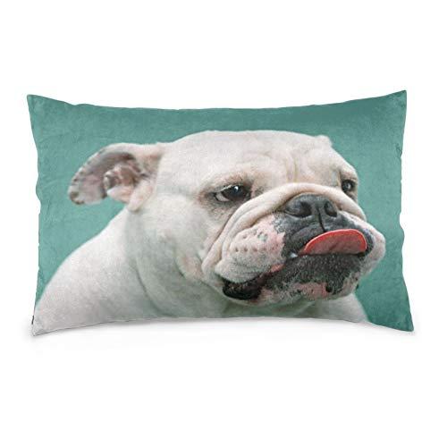 VVSADEB Funda de almohada para perro Bulldog francés 50 x 70 cm, funda de almohada con cremallera, suave y acogedora, arrugas, tamaño estándar 1 paquete