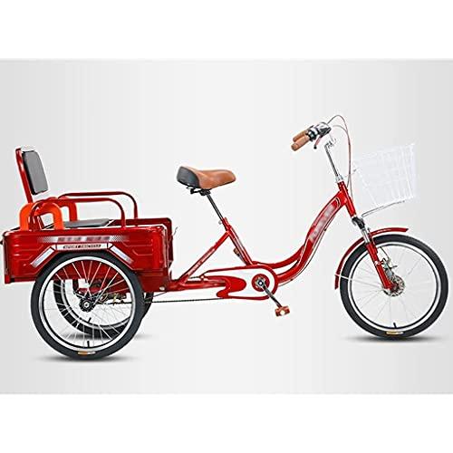 20 Pulgadas Triciclo Adultos Triciclo Adultos Plegable con Cestas 3 Ruedas Bicicleta para Ejercicio Picnic Compras Recreativas (Color : Red)