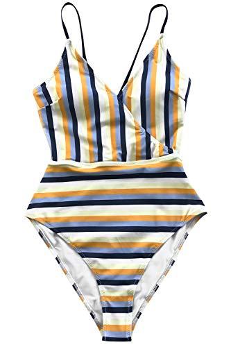 CUPSHE Women's Blue and Yellow Stripe High Leg Cut One-Piece Swimsuit Large