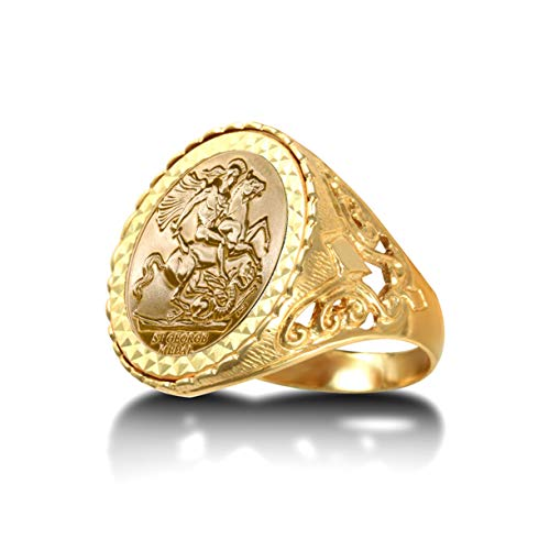 Jewelco Europa Anillo con medallón de flor de lis de San Jorge y dragón de oro macizo de 9 quilates para hombre (tamaño Sov completo)