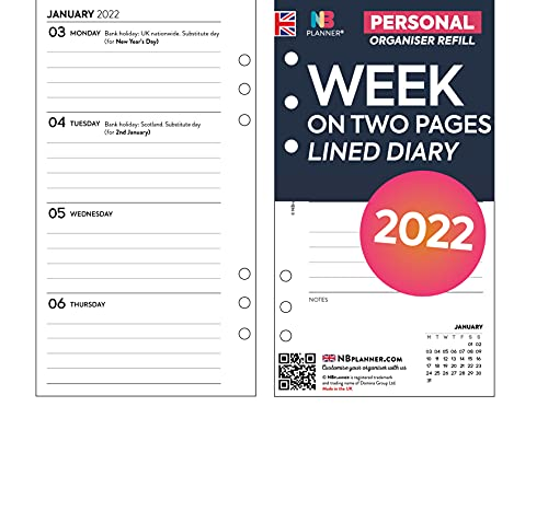 NBplanner Personal size 2022 Week on two pages lined diary organiser refill insert Filofax Personal COMPATIBLE
