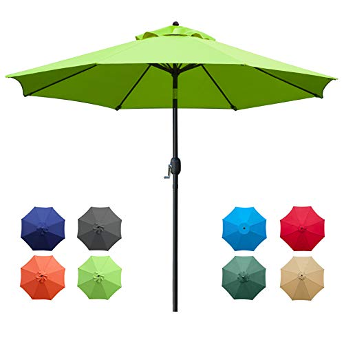 Sunnyglade 9Ft Patio Umbrella Outdoor Table Umbrella with 8 Sturdy Ribs (Grass Green)