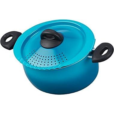 Bialetti 07548 Oval 5 Quart Pasta Pot with Strainer Lid, Coastal Blue