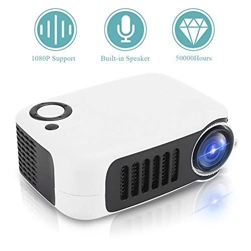 Video Beamer Goedkope, draagbare thuisbioscoopprojector Mini Beamer Ondersteunt 1080P met contrast: 1000: 1, 14-100 inch projectie voor het bekijken van video's, films(EU zwart en wit)