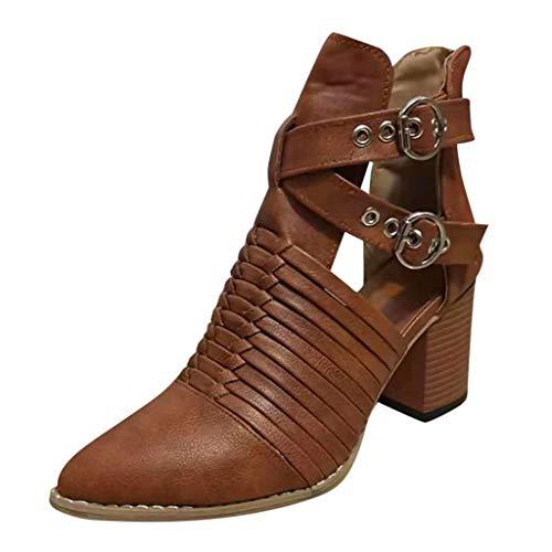 Yowablo Schuhe Damen Herbstschuhe Mode Knöchel Solid Single Short Boots (37,Braun)