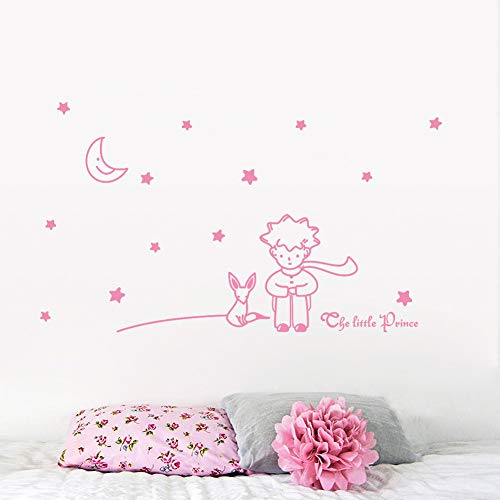 GVC Newest Little Prince with Fox Moon Star Home Decor Wall Sticker for Kids Room Gifts for Baby Child Birthday
