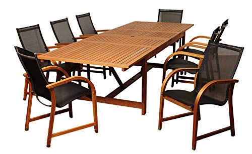 Amazonia Franklin 9-Piece Outdoor Extendable Rectangular Dining Table...