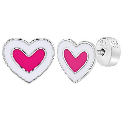 Pendientes de plata de ley 925, diseño de corazón con esmalte rosa y blanco, para niñas