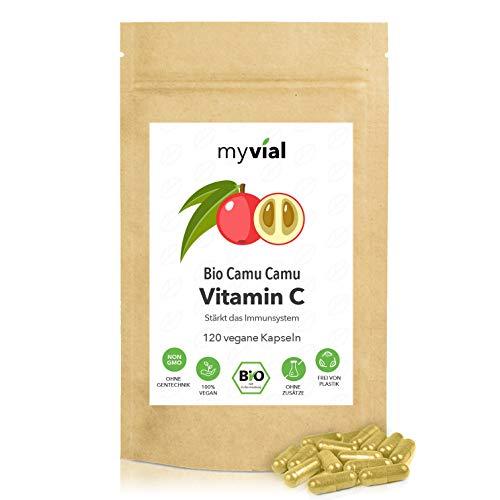 myvial® Camu Camu Kapseln | natürliches Vitamin C in Bio Qualität | 120 vegane Kapseln | 60-Tages-Vorrat | für Immunsystem & Abwehrkräfte