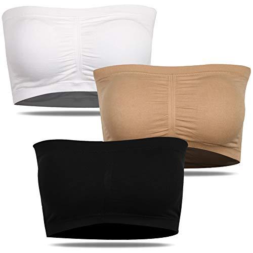 SHETOP Sujetador básico sin tirantes acolchado sin costuras para mujer, 3-Negro*1+Beige*1+Blanco*1, XXL