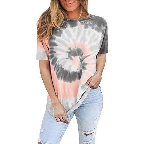 DREAMING-Camiseta de algodón Superior para Mujer Camiseta de Manga Corta con Cuello Redondo Suelto teñido con Lazo XL