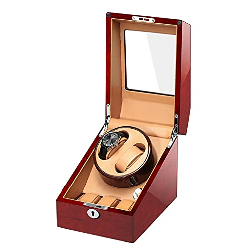 Enrollador automático de relojes Cajas de enrollado de relojes dobles con motor ligero y silencioso para visualización de relojes para hombres y mujeres Adaptador de CA de regalo y funciona con bate