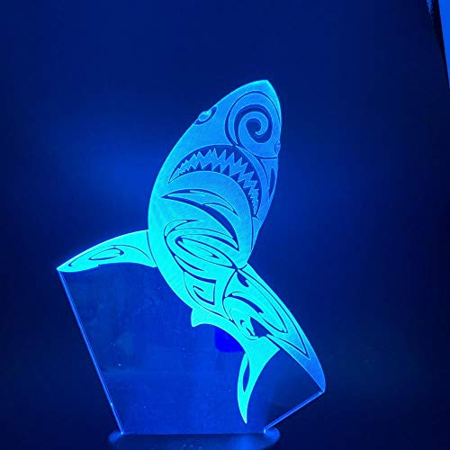 3D Illusion LED Lamp for Kids Led Night Light Shark Light for Children Bedroom Night Light Lamp 7/16 Colors Changing Led Night Light Room Kids Gift