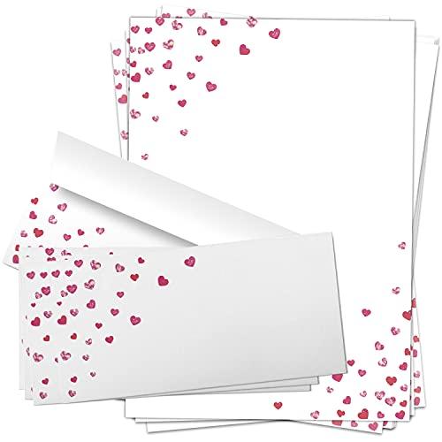 10 Briefpapiere und Briefumschläge SET | Herzen Liebesbrief | Papier und Umschlag mit Design-Motiv bedruckt | 90 g/m²