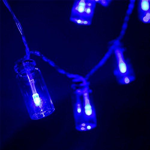 MASUNN Batterie Alimenté 20 LED Souhaitant Bouteille Fée Chaîne Lumière Noël Jardin Garden Party Decor-Bleu