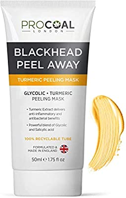 Blackhead Remover, Glycolic & Turmeric Peeling Face Mask 50ml by Procoal – Vegan Peeling Mask Exfoliates & Lifts Blackheads, Suitable for Men and Women, Cruelty-Free, Made in UK