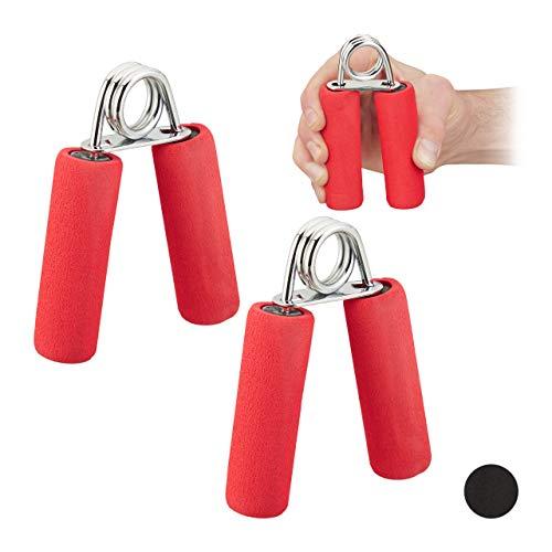 Relaxdays Fingertrainer im 2er Set, Schaumstoff Griffpolster, Griffkraft Trainer, Fingertraining, Eisen Feder, rot