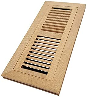 Homewell White Oak Wood Floor Register, Flush Mount Vent with Damper, 4x12 Inch, Unfinished