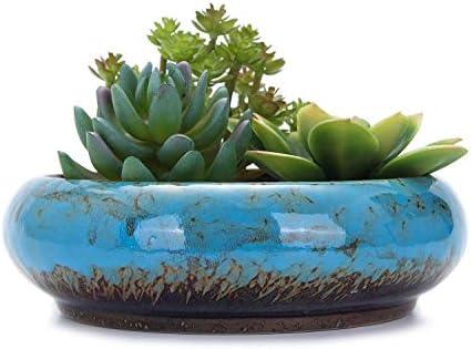VanEnjoy 7 3 inch Round Large Shallow Succulent Ceramic Glazed Planter Pots with Drainage Hole product image