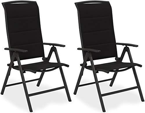 BRUBAKER 2er Set Gartenstühle Milano - Hochlehner Stühle klappbar - 8-Fach verstellbare Rückenlehnen - Klappstühle Aluminium - Wetterfest - Anthrazit