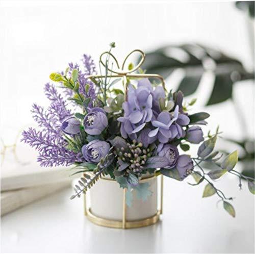 ShangduKünstliche Pflanzen, DIY gefälschte Blattsträuße, für Hochzeitsdekorationen bei Einer Familiengartenparty im grünen Garten verwendet 23 * 20cm Lila